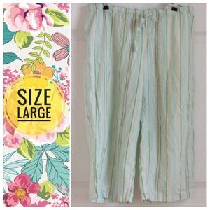 Other - Mint green STRIPED pajama capri pants - size large